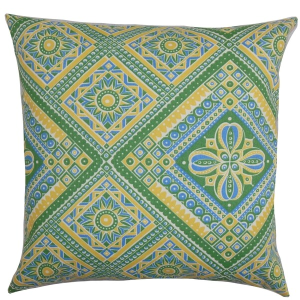 Isaura Geometric Green Yellow Down Filled Throw Pillow