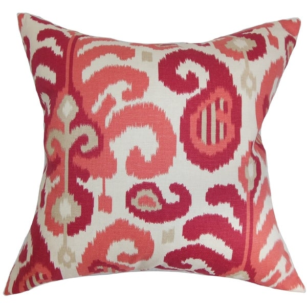 Scebbi Ikat Berry Down Filled Throw Pillow
