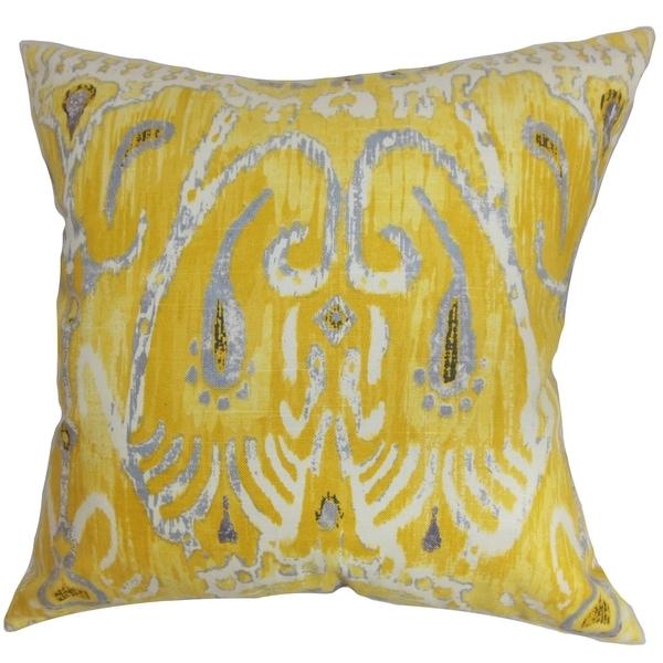 Yellow Haestingas Ikat Down Fill Throw Pillow Free