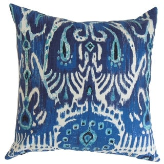 Haestingas Ikat Down Fill Throw Pillow Navy Blue