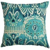 Haestingas Blue Ikat Down Fill  Throw Pillow