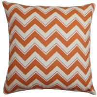 Deion Zigzag Orange White Down Filled Throw Pillow