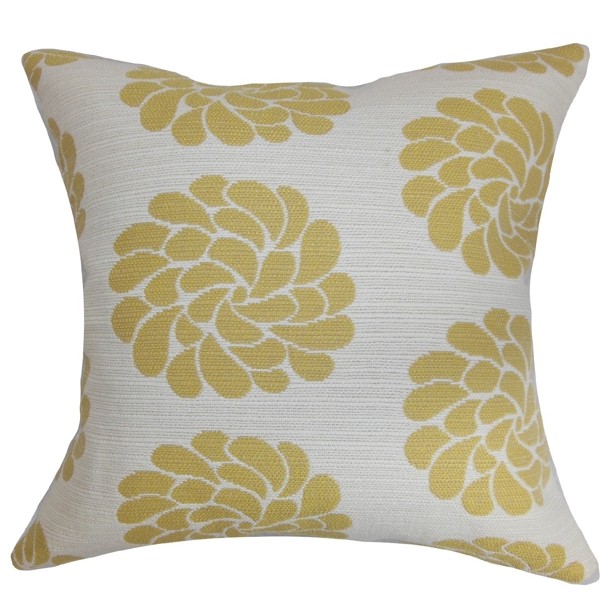 The Pillow Collection Unai Floral Yellow Down Filled Throw Pillow