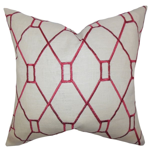 Nevaeh Geometric Down Fill Throw Pillow Red