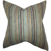 Strick & Bolton Erroll Stripes Blue/ Brown Down Fill Throw Pillow