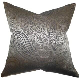 Cashel Paisley Down Fill Throw Pillow Gray