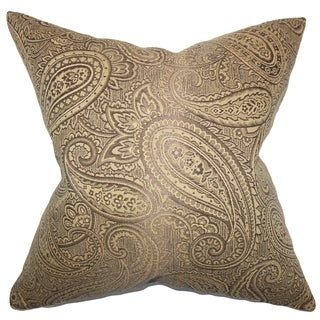 Cashel Paisley Down Fill Throw Pillow Brown