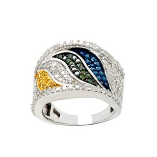 Sterling Silver 1 3/4ct TDW Multi-color Diamond Pave Ring (H-I, I2-I3)