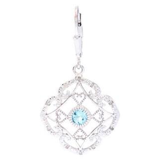 La Preciosa Sterling Silver 1/10ct TDW White Diamond Blue Topaz Earrings (I-J, I2-I3)