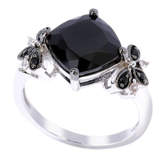 Sterling Silver Black Spinel and White Zircon Ring