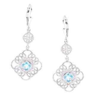 La Preciosa Sterling Silver 1/10ct TDW White Diamond and Blue Topaz Earrings (I-J, I2-I3)