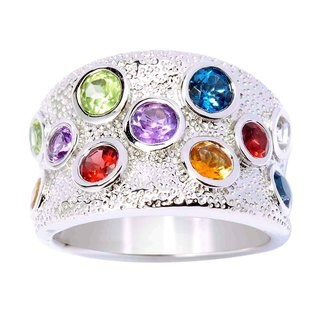 Sterling Silver Multi-gemstone Wide-band Ring