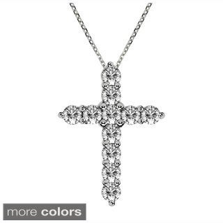 14k Gold 1 1/4ct Classic Shared-prong Diamond Cross Necklace