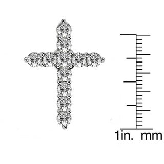 14k or 18k Gold 2.15ct TDW Classic Shared Prong Diamond Cross Necklace