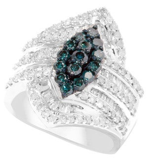 14k White Gold 1 1/2ct TDW Blue Diamond Pave Marquise Ring