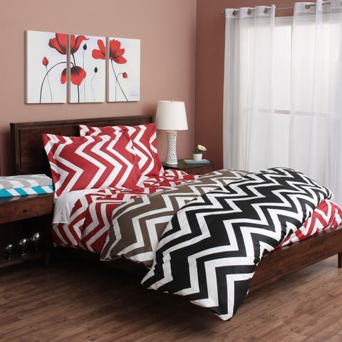 Chevron 300 Thread Count Cotton 3-piece Duvet Cover Set