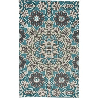 Grand Bazaar Power Loomed Polypropylene Pismo Rug in Aqua 5' x 8' - 5' x 8'