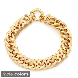 Gioelli Sterling Silver Bold Hollow Curb Chain Bracelet
