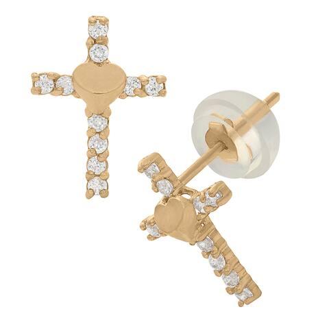 Junior Jewels 14k Yellow Gold Children's Cubic Zirconia Heart Earrings