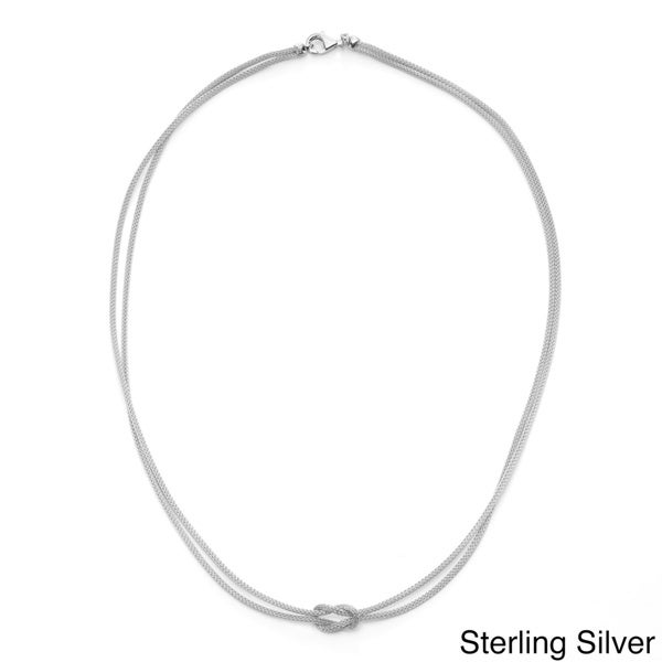 Gioelli Sterling silver Multi-strand Knotted Omega Necklace
