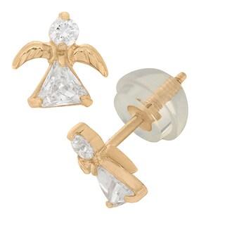 Junior Jewels 14k Yellow Gold Cubic Zirconia Angel Stud Earrings