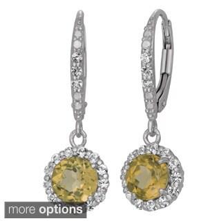 Gioelli Sterling Silver Gemstone Halo Dangle Earrings
