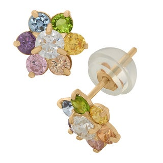 Junior Jewels 14k Multi-colored Children's Cubic Zirconia Flower Earrings
