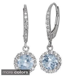 Gioelli Sterling Silver Created Gemstone Halo Dangle Earrings