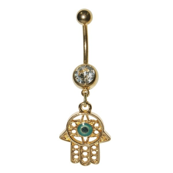 Supreme Jewelry Gold Hamsa Hand Belly Ring