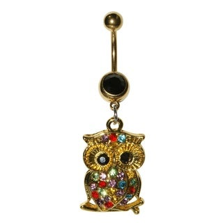 Supreme Jewelry Gold Owl with Multi-colored Stones Belly Ring
