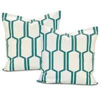 Exclusive Fabrics Tide Sands Square Cotton Pillow Cover (Set of 2)
