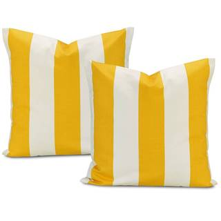 Exclusive Fabrics Cabana Yellow Stripe Cotton Pillow Cover (Set of 2)