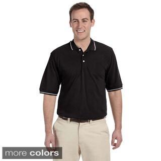 Men's Pique Contrast Tipped Easy Blend Polo Shirt