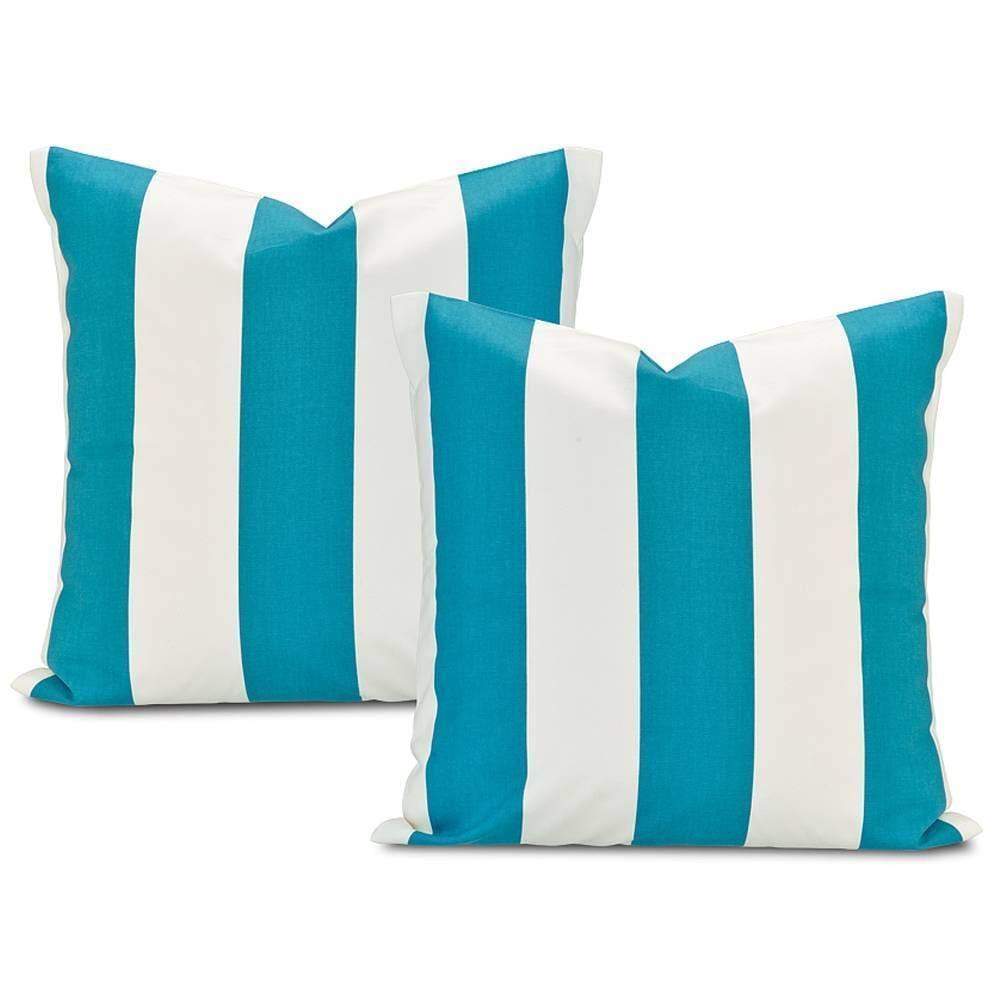 Exclusive Fabrics Cabana Teal Printed Cotton Throw Pillow...