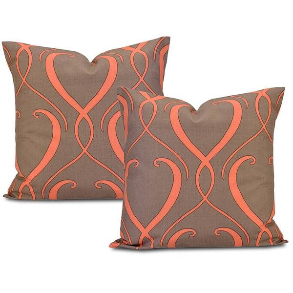 Exclusive Fabrics Panama Brown/ Coral Cotton Pillow Cover (Set of 2)