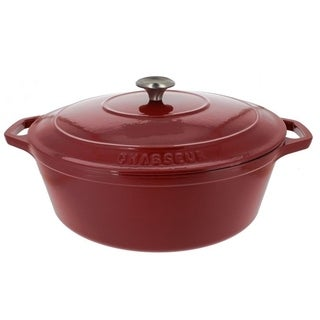 Chasseur 7.25-quart Red French Enameled Cast Iron Oval Dutch Oven