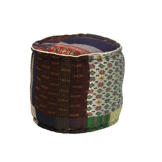 Elements Gudari Patchwork Velvet Round Pouf