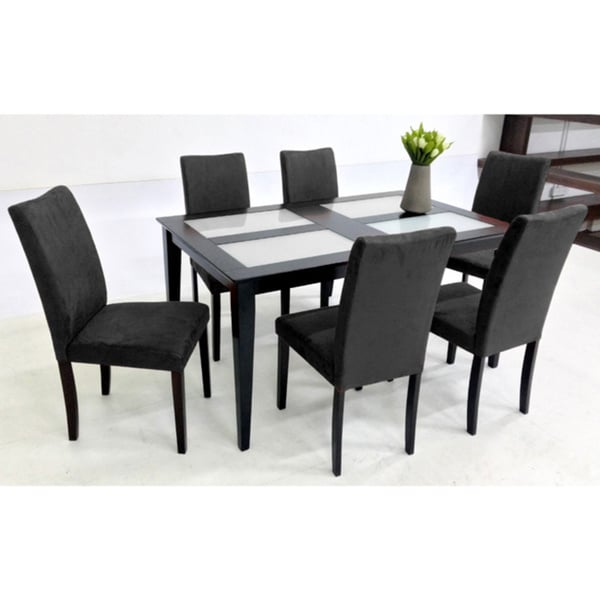 warehouse of tiffany shino black 7 piece glass top dining set free shipping today overstock. Black Bedroom Furniture Sets. Home Design Ideas