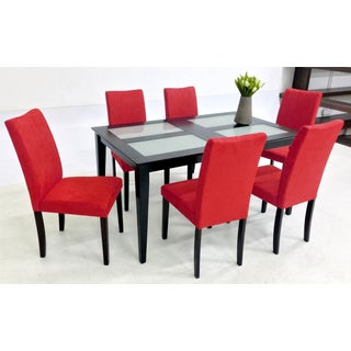 Warehouse of Tiffany Shino Red 7-piece Glass Table Dining Set