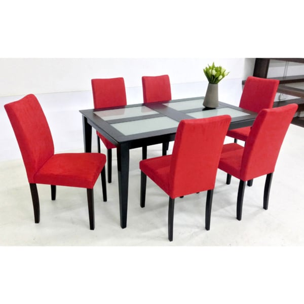 Warehouse of tiffany shino red 7 piece glass table dining for Red dining room table and chairs
