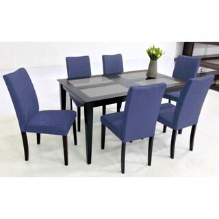 Warehouse of Tiffany Shino Blue 7-piece Glass Table Dining Set