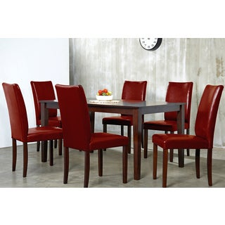 Bon Warehouse Of Tiffany Shino Crimson 7 Piece Dining Furniture Set