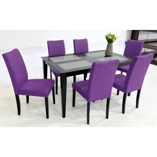 Warehouse of Tiffany Shino Purple 7-piece Glass Table Dining Set