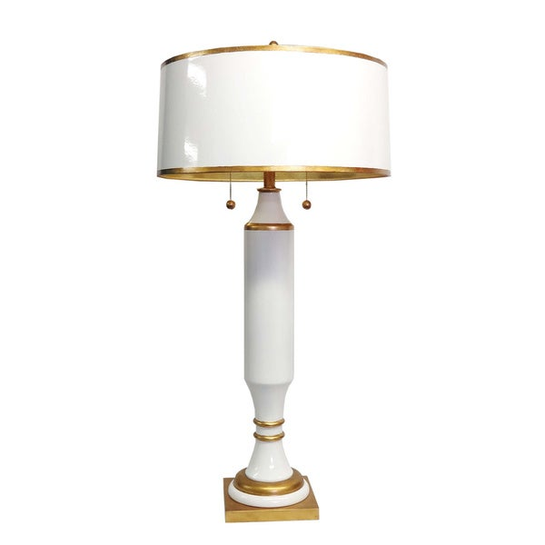 Superior White/ Gold 2 Light Tall Table Lamp