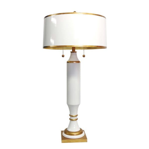 White/ Gold 2 Light Tall Table Lamp