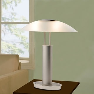 Link to Artiva USA Avalon Modern 2-tone Table Lamp with Oval Canoe-shaped Frosted Glass Shade and 3-way Touch Switch - Silver Similar Items in Table Lamps