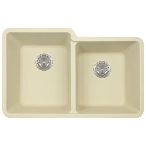 Polaris Sinks P108 Beige AstraGranite Double Offset Bowl Kitchen Sink