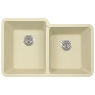 Polaris Sinks P108 Beige AstraGranite Double Offset Bowl Kitchen Sink