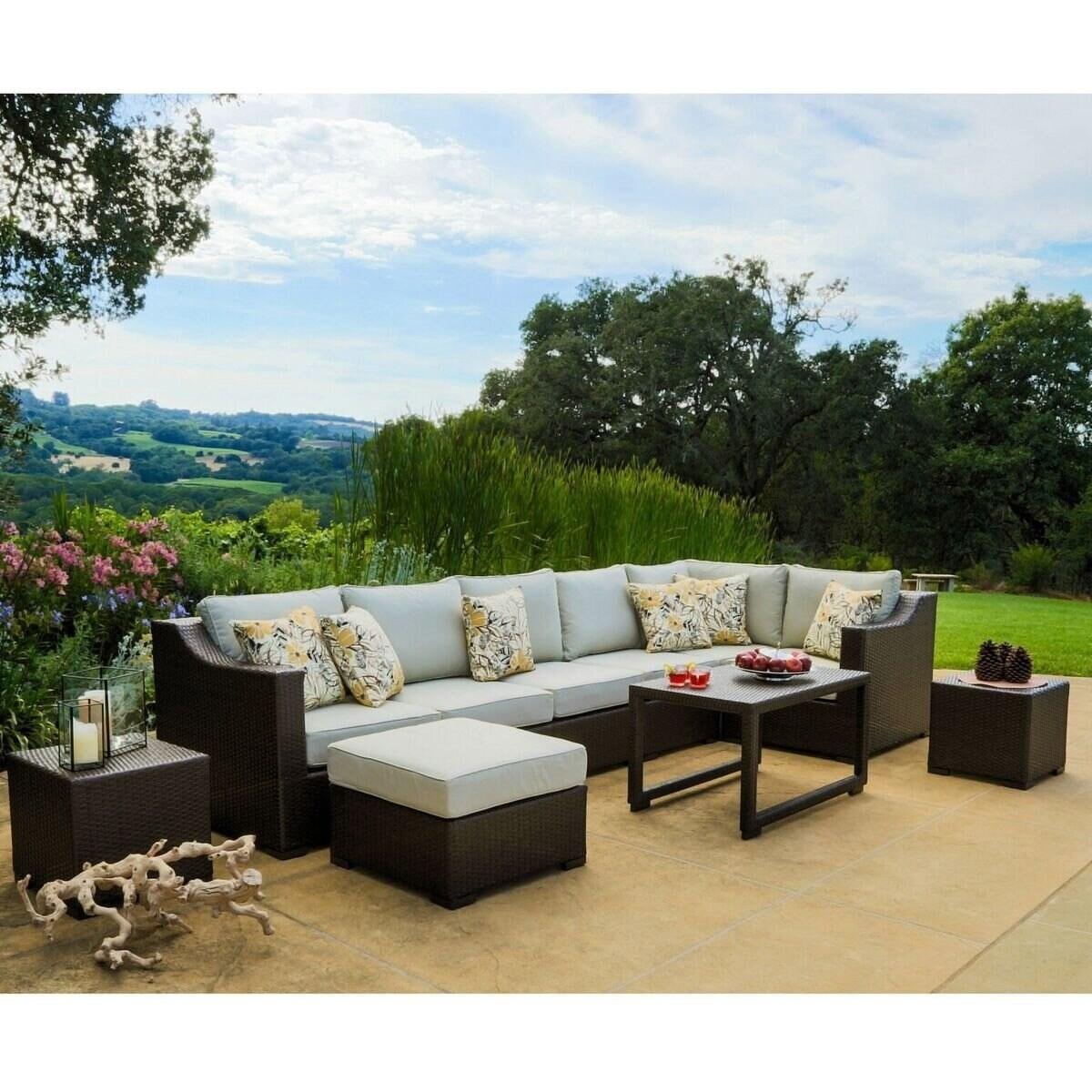 Shop Black Friday Deals On Matura 10 Piece Dark Brown Wicker Patio Furniture Set By Corvus Overstock 9034172