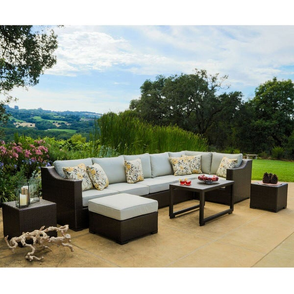 Matura Piece Brown Wicker Patio Furniture Set By Corvus Free - Wicker patio furniture sets